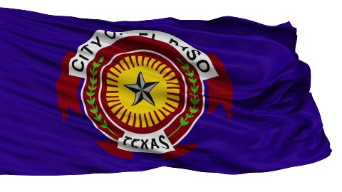 Isolated Waving National Flag of El Paso City - stock footage