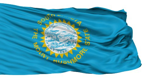 Isolated Waving National Flag of South Dakota - stock footage