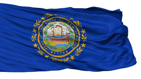 Isolated Waving National Flag of New Hampshire - stock footage