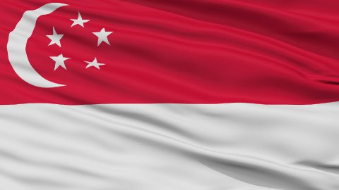 Close Up Waving National Flag of Singapore - stock footage