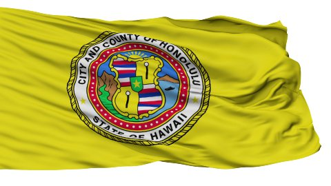 Isolated Waving National Flag of Honolulu City - stock footage