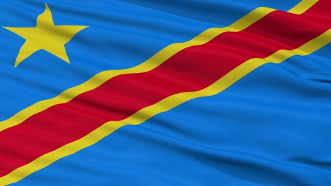 Close Up Waving National Flag of Democratic Republic of the Congo - stock footage