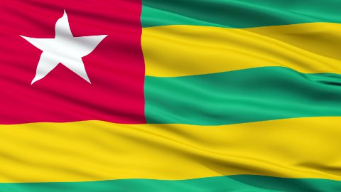Close Up Waving National Flag of Togo - stock footage