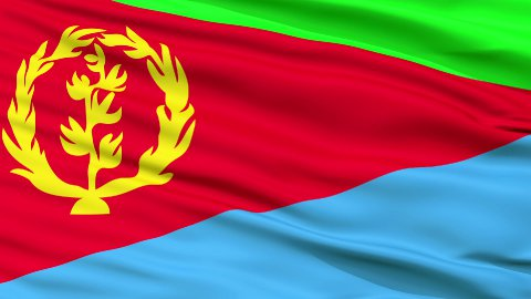 Close Up Waving National Flag of Eritrea - stock footage