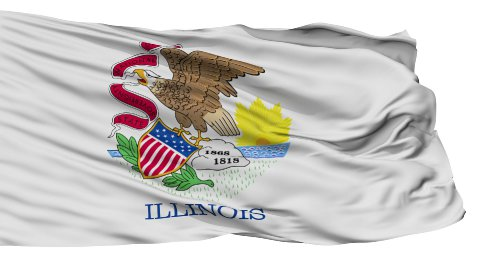 Isolated Waving National Flag of Illinois - stock footage