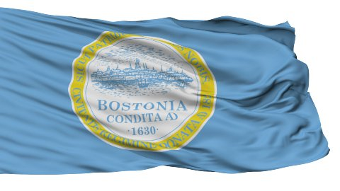 Isolated Waving National Flag of Boston City - stock footage