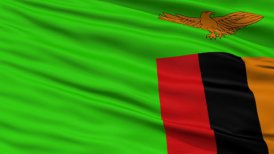Close Up Waving National Flag of Zambia