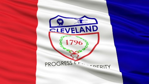 Close Up Waving National Flag of Cleveland City - stock footage