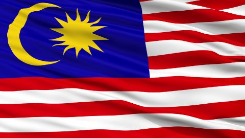 Close Up Waving National Flag of Malaysia - stock footage