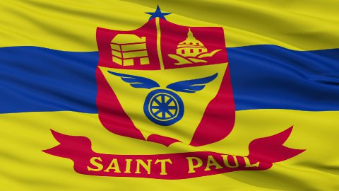 Close Up Waving National Flag of St. Paul City - stock footage