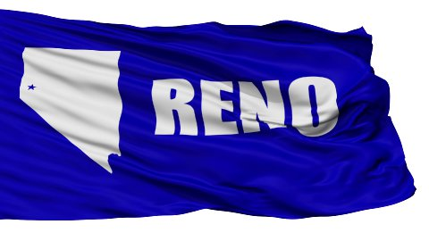 Isolated Waving National Flag of Reno City - stock footage