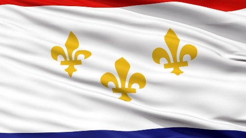Close Up Waving National Flag of New Orleans City - stock footage