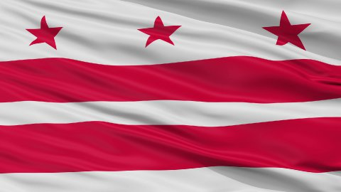 Close Up Waving National Flag of Washington D.C. City - stock footage