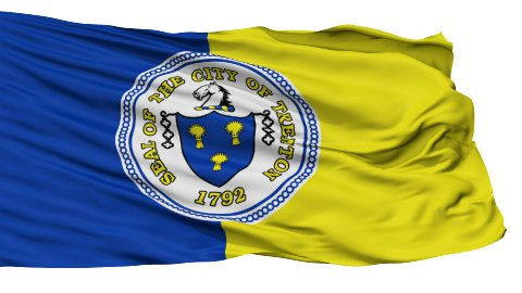 Isolated Waving National Flag of Trenton City - stock footage