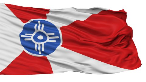 Isolated Waving National Flag of Wichita City - stock footage