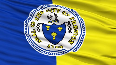 Close Up Waving National Flag of Trenton City - stock footage