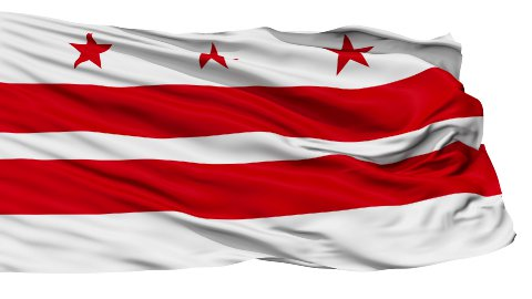 Isolated Waving National Flag of Washington D.C. City - stock footage