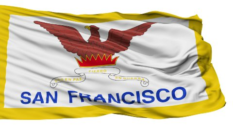 Isolated Waving National Flag of San Francisco City - stock footage