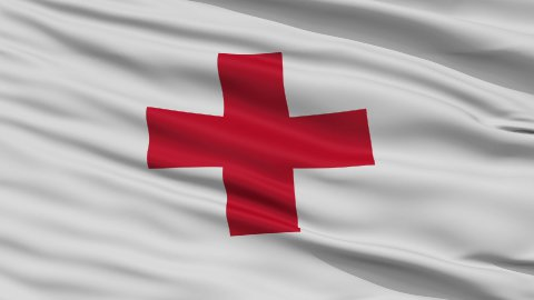 Close Up Waving National Flag of Red Cross - stock footage