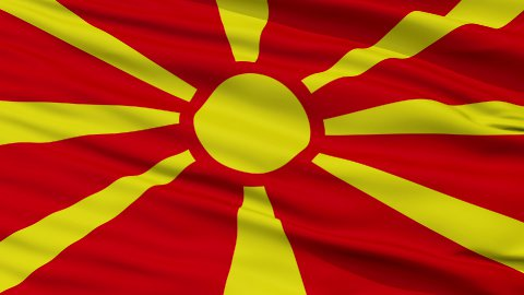 Close Up Waving National Flag of Republic of Macedonia - stock footage