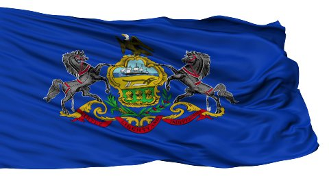Isolated Waving National Flag of Pennsylvania - stock footage