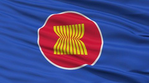Close Up Waving Flag of Asean - stock footage