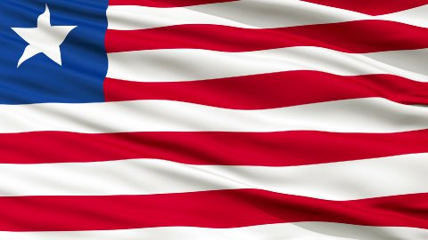 Close Up Waving National Flag of Liberia - stock footage