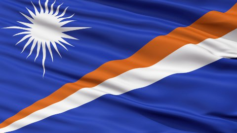 Close Up Waving National Flag of Marshall Islands - stock footage