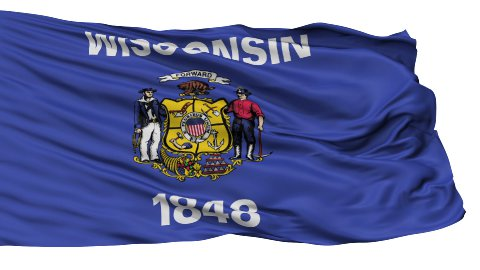 Isolated Waving National Flag of Wisconsin - stock footage