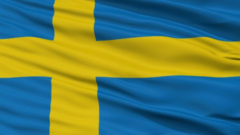 Close Up Waving National Flag of Sweden - stock footage