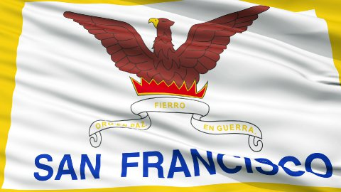 Close Up Waving National Flag of San Francisco City - stock footage