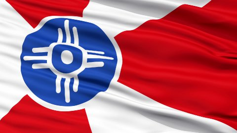 Close Up Waving National Flag of Wichita City - stock footage