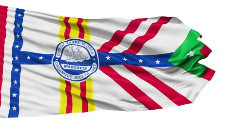 Isolated Waving National Flag of Tampa City - stock footage