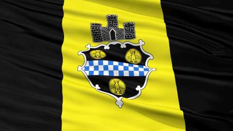 Close Up Waving National Flag of Pittsburgh City - stock footage