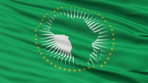 Close Up Waving National Flag of African Union - stock footage