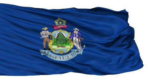 Isolated Waving National Flag of Maine - stock footage