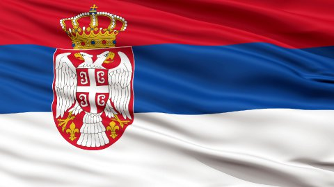 Close Up Waving National Flag of Serbia - stock footage