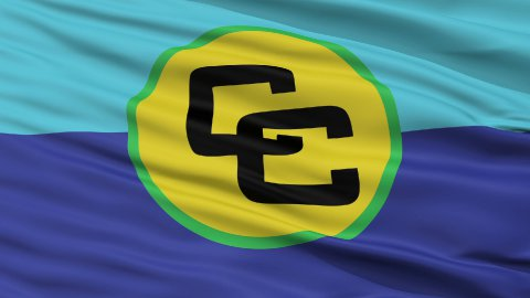 Close Up Waving Flag of Caricom - stock footage