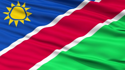 Close Up Waving National Flag of Namibia - stock footage