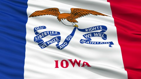 Close Up Waving National Flag of Iowa - stock footage