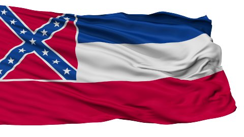 Isolated Waving National Flag of Mississippi - stock footage