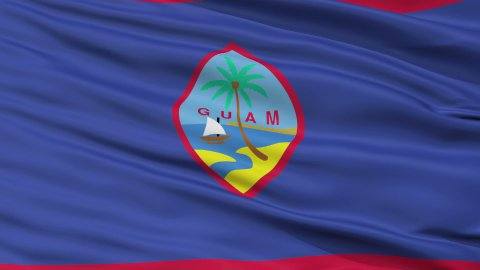 Close Up Waving National Flag of Guam - stock footage
