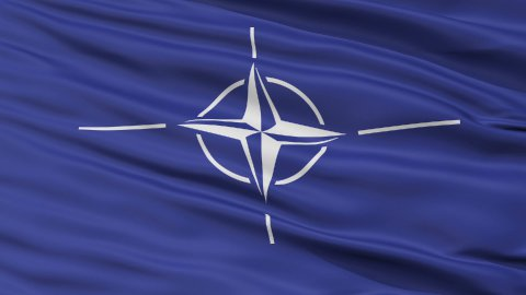 Close Up Waving Flag of Nato - stock footage