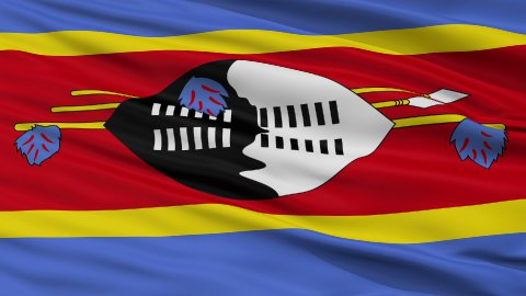 Close Up Waving National Flag of Swaziland - stock footage