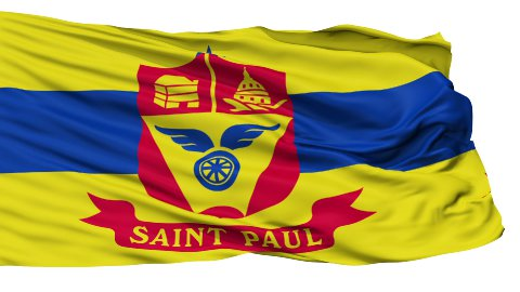Isolated Waving National Flag of St. Paul City - stock footage