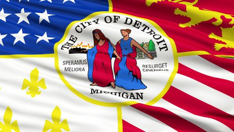 Close Up Waving National Flag of Detroit City - stock footage