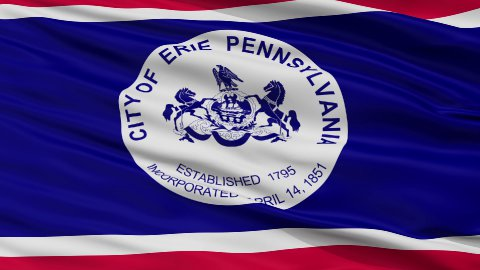 Close Up Waving National Flag of Erie City - stock footage