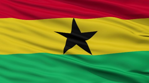 Close Up Waving National Flag of Ghana - stock footage