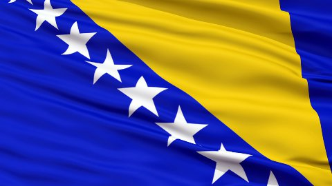 Close Up Waving National Flag of Bosnia and Herzegovina - stock footage