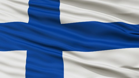 Close Up Waving National Flag of Finland - stock footage